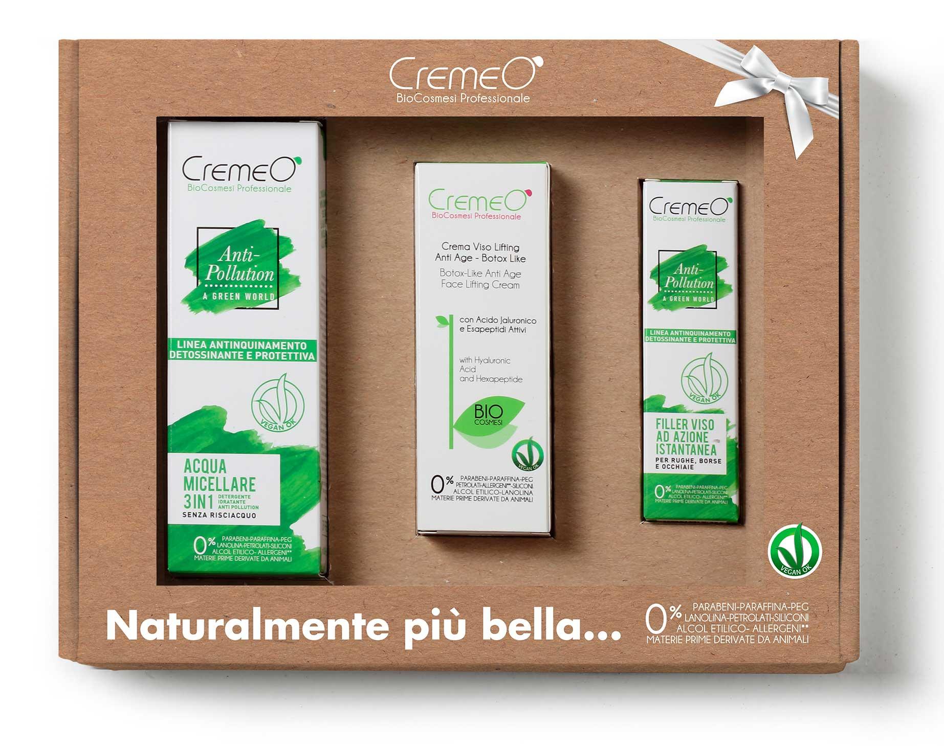 Cofanetto Viso Cremeo' con Acqua Micellare 3in1, Filler Instant Lifting e Crema Lifting Anti Age Botox Like