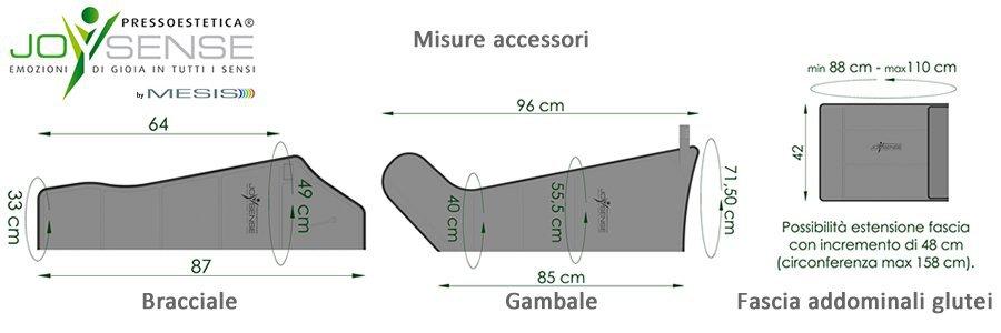 Misure degli esclusivi accessori a 5 camere della Pressoestetica JoySense 3.0, la pressoterapia estetica
