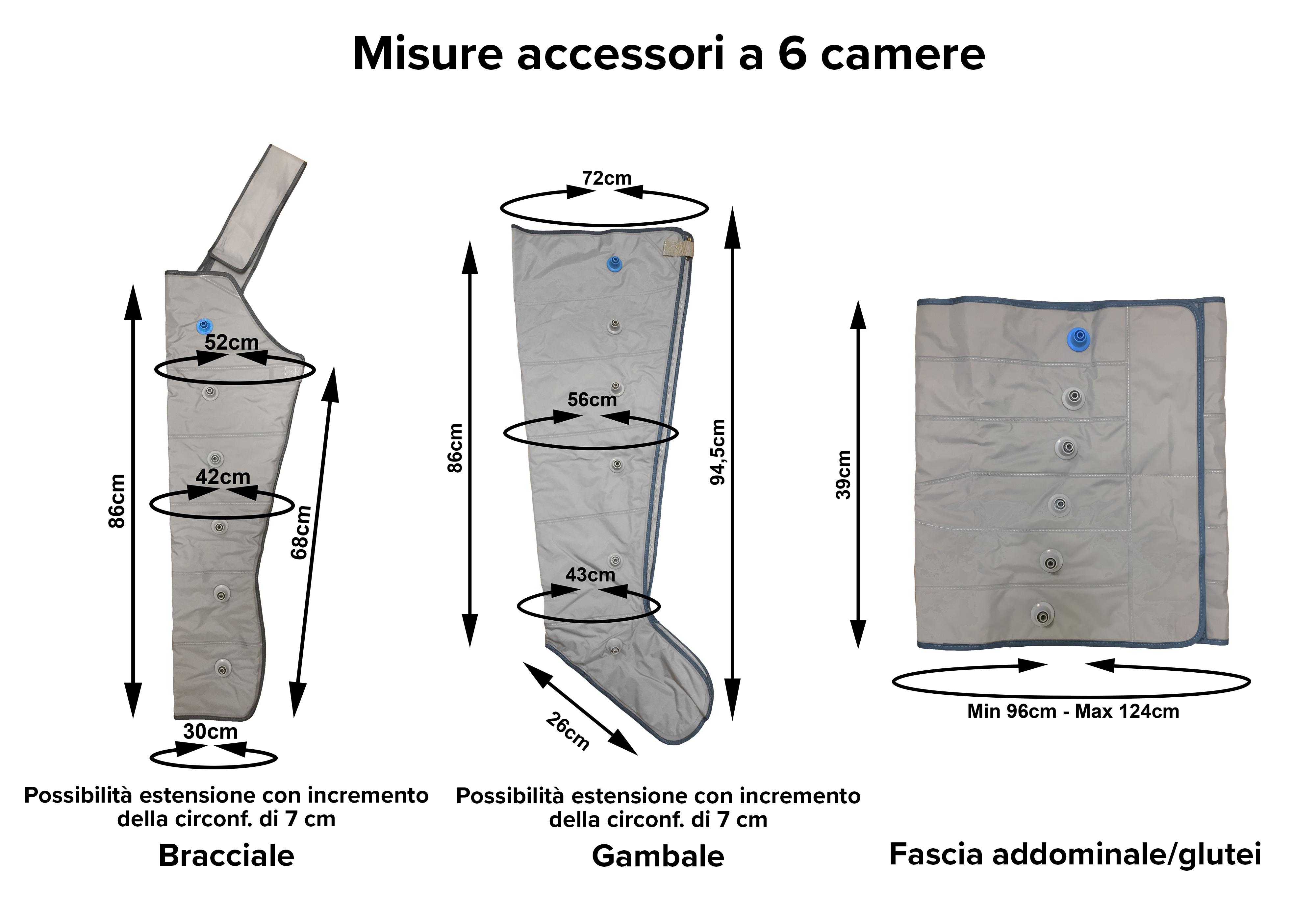 Misure accessori a 6 camere per pressoterapia Mesis