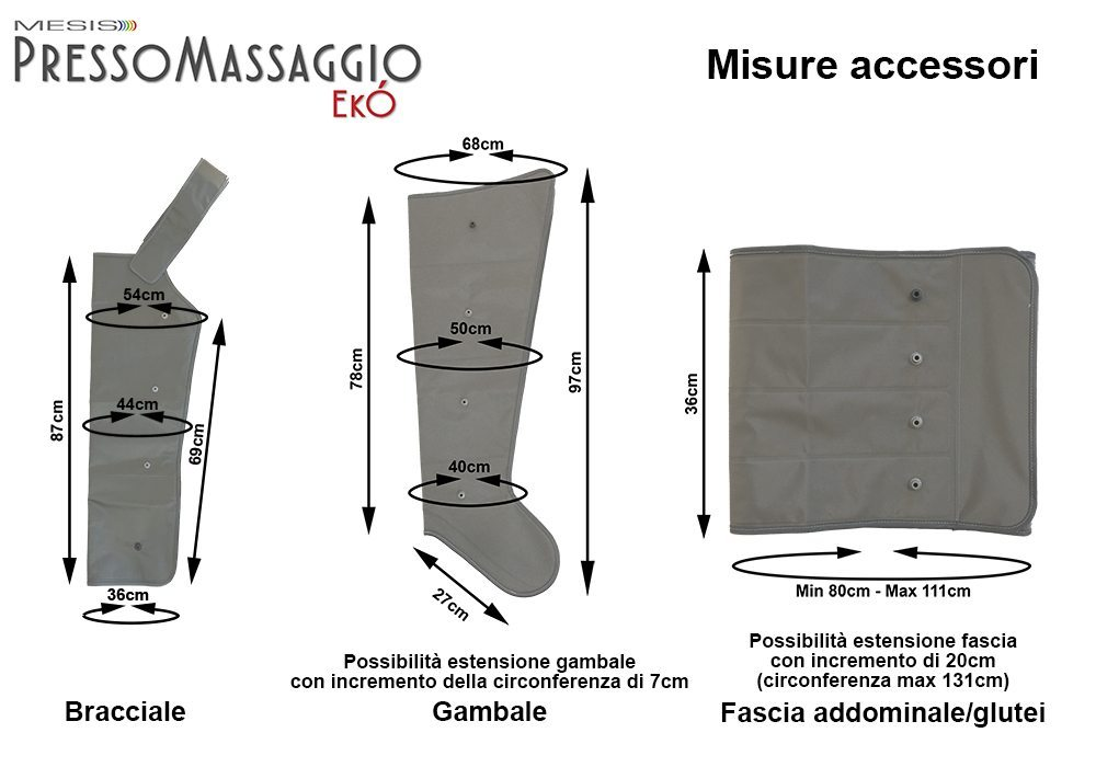 Applicatori e misure della pressoterapia PressoMassaggio EkO' Mesis