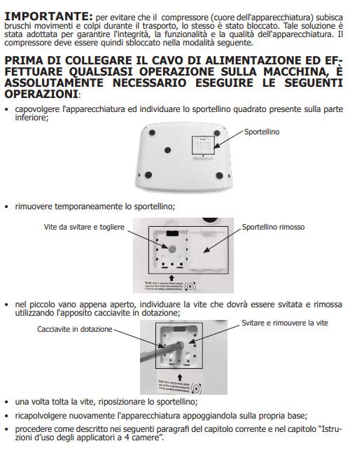 Prime istruzioni per mettere in funzione la pressoterapia PressoMassaggio EkO' Mesis