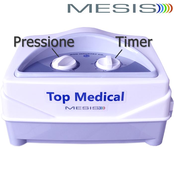 Pressoterapia medicale Mesis Top Medical: regolazione della pressione e del timer per una seduta personalizzata e in sicurezza. Facile da usare